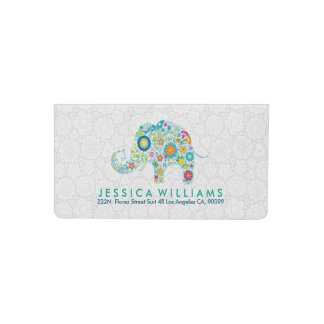 Colorful Floral Elephant White Damasks Checkbook Cover