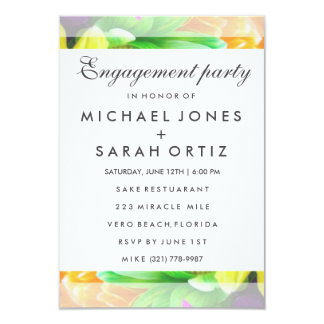 Colorful Floral Engagement Party Invitation