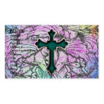 Colorful Floral Filigree Cross Double-Sided Standard Business Cards (Pack Of 100)