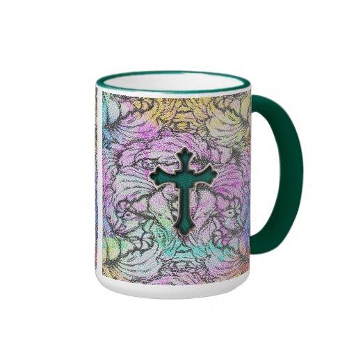 Colorful Floral Filigree Cross Mugs