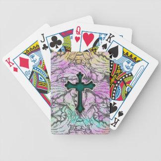 Colorful Floral Filigree Cross Card Decks