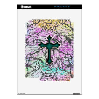Colorful Floral Filigree Cross Decal For iPad 2