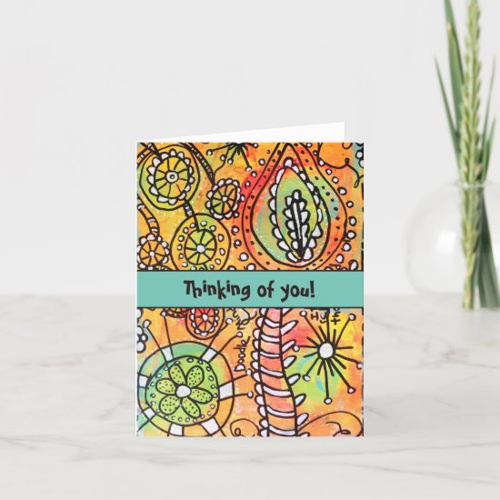 Colorful Floral Flower Doodles Whimsical Art Note Card
