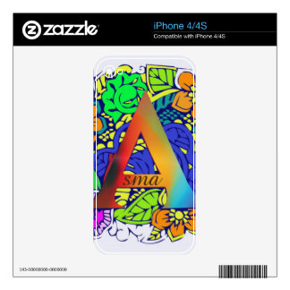 Colorful Floral Flower Pattern Design Colors Decal For The iPhone 4S