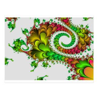 Colorful Floral Fractal Postcard