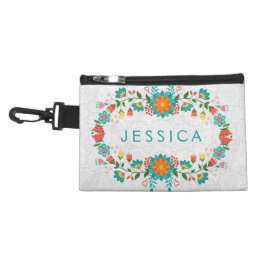 Colorful Floral Frame White Background Accessory Bag
