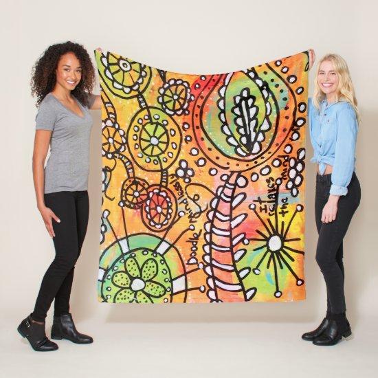 Colorful Floral Fun Flower Doodles Whimsical Art Fleece Blanket