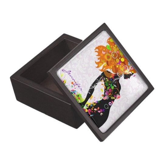 Colorful Floral Girl Monogram Jewelry Box