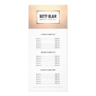 Colorful Floral, Gold Elegan Salon Price List Menu Customized Rack Card