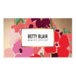 Colorful Floral, Gold Elegant Fashion and Beauty Double-Sided Standard Business Cards (Pack Of 100)