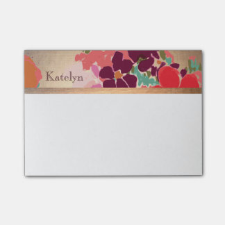 Colorful Floral, Gold Elegant Fashion Personalized Post-it Notes