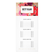 Colorful Floral Gold Elegant Salon Price List Menu