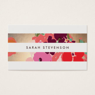 Colorful Floral Gold Striped Fashion and Beauty Business Card