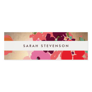 Colorful Floral Gold Striped Fashion and Beauty Double-Sided Mini Business Cards (Pack Of 20)