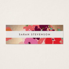 Colorful Floral Gold Striped Fashion And Beauty Mini Business Card at Zazzle