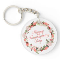 Colorful Floral Happy Thanksgiving   Keychain