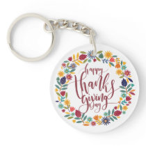Colorful Floral Happy Thanksgiving | Keychain