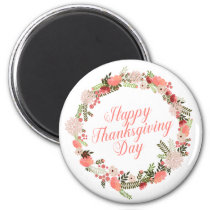 Colorful Floral Happy Thanksgiving | Magnet
