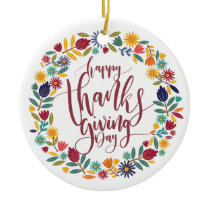 Colorful Floral Happy Thanksgiving | Ornament