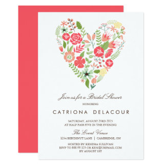 Colorful Floral Heart Spring Bridal Shower Card