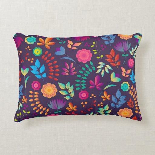 Colorful floral illustration accent pillow Zazzle