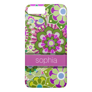 Colorful Floral Illustration - pink and green Name iPhone 8 Plus/7 Plus Case
