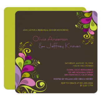 Colorful Floral Leaves Rehearsal Dinner Invitation