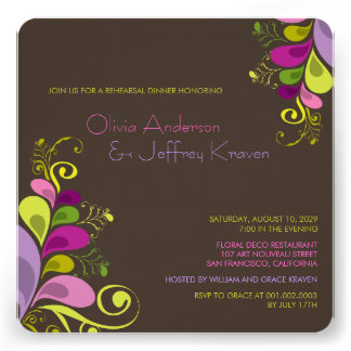 Colorful Floral Leaves Rehearsal Dinner Invitation Personalized Announcement