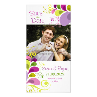 Colorful Floral Leaves Save The Date Photo Card Custom Photo Card