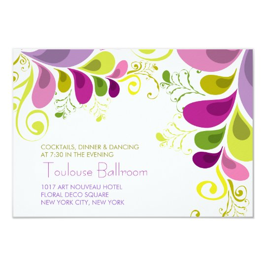 Colorful Floral Leaves Wedding Reception Invite
