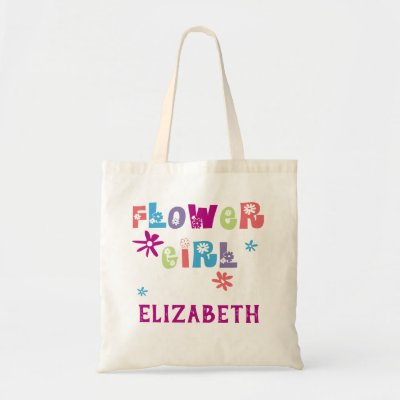 Colorful Floral Letters Personalized Flower Girl Tote Bag