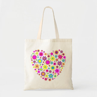 Colorful Floral Love Heart Tote Bag