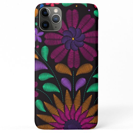 Colorful Floral Mexican Embroidery Background iPhone 11 Pro Max Case