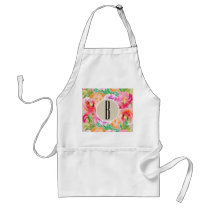 Colorful Floral Modern Rustic Botanical Kraft Adult Apron