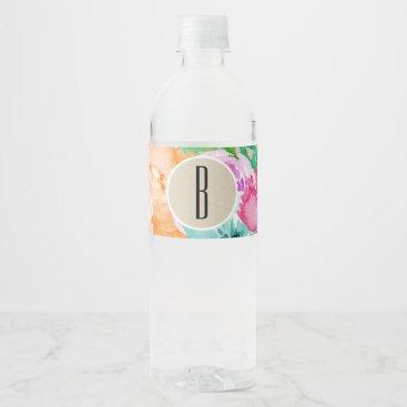 Professional Business Colorful Floral Modern Rustic Botanical Kraft Water Bottle Label