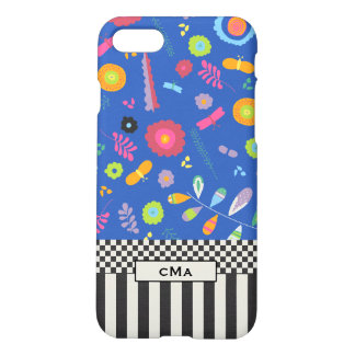 Colorful, Floral Monogram Black & White Pattern iPhone 7 Case