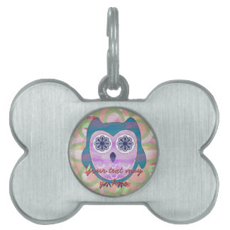 Colorful Floral Owl Pet Name Tag