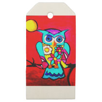 Colorful floral owl wooden gift tags