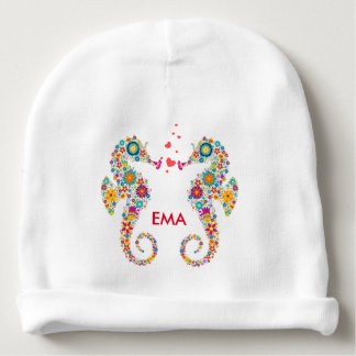 Colorful Floral Pair Of Sea Horses Baby Beanie