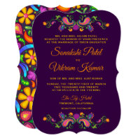 Colorful Floral Paisley Indian Wedding Invitation