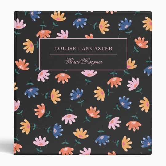 Colorful Floral Pattern 3 Ring Binder