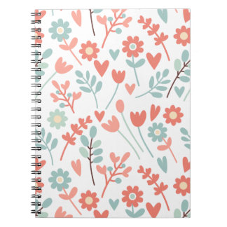 Colorful floral pattern art spiral notebook
