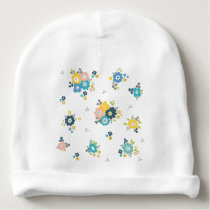 Colorful floral pattern baby beanie