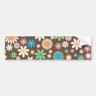 Colorful floral pattern bumper stickers
