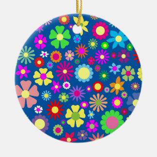 Colorful floral pattern ceramic ornament