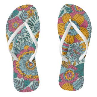 Colorful floral pattern flip flops
