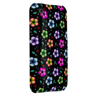 Colorful Floral pattern on black background iPhone 3 Cases