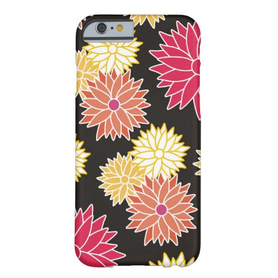 Colorful Floral Pattern On Black Barely There iPhone 6 Case