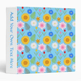 Colorful Floral Pattern on Blue. 3 Ring Binder