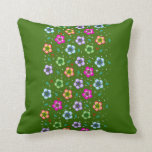 Colorful floral pattern on dark green cushion throw pillow